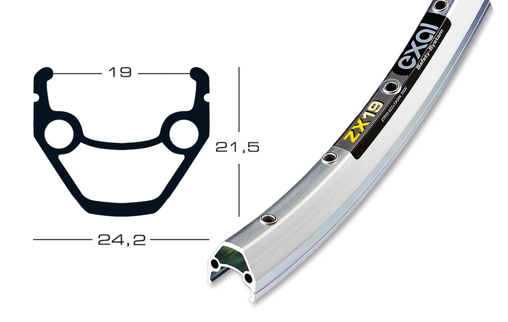 Exal ZX fælg 622-19c 36h sølv   Fælge