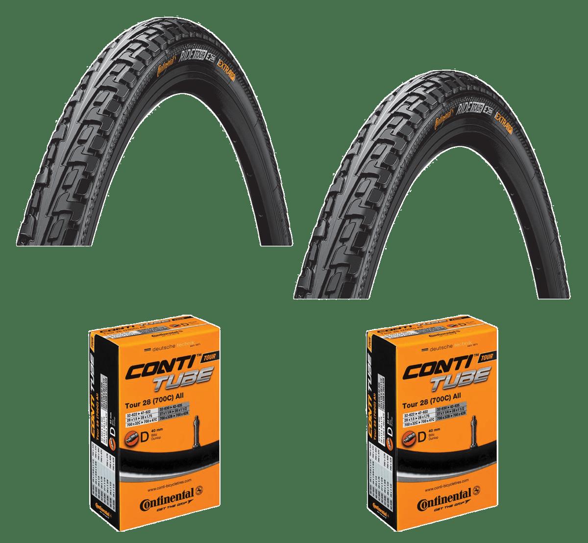 2 Dæk + 2 Slanger Continental Ride Tour Sort 700x40C (42-622) Dunlop Ventil