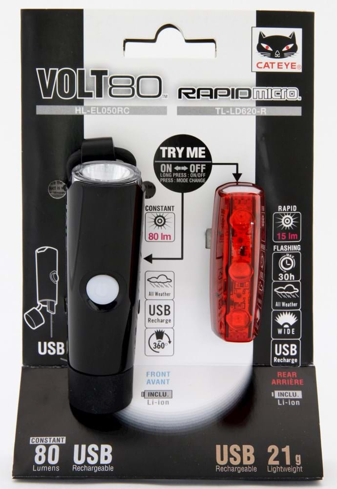 Cateye Lygtesæt Volt 80 + Rapid Micro | Lygtesæt