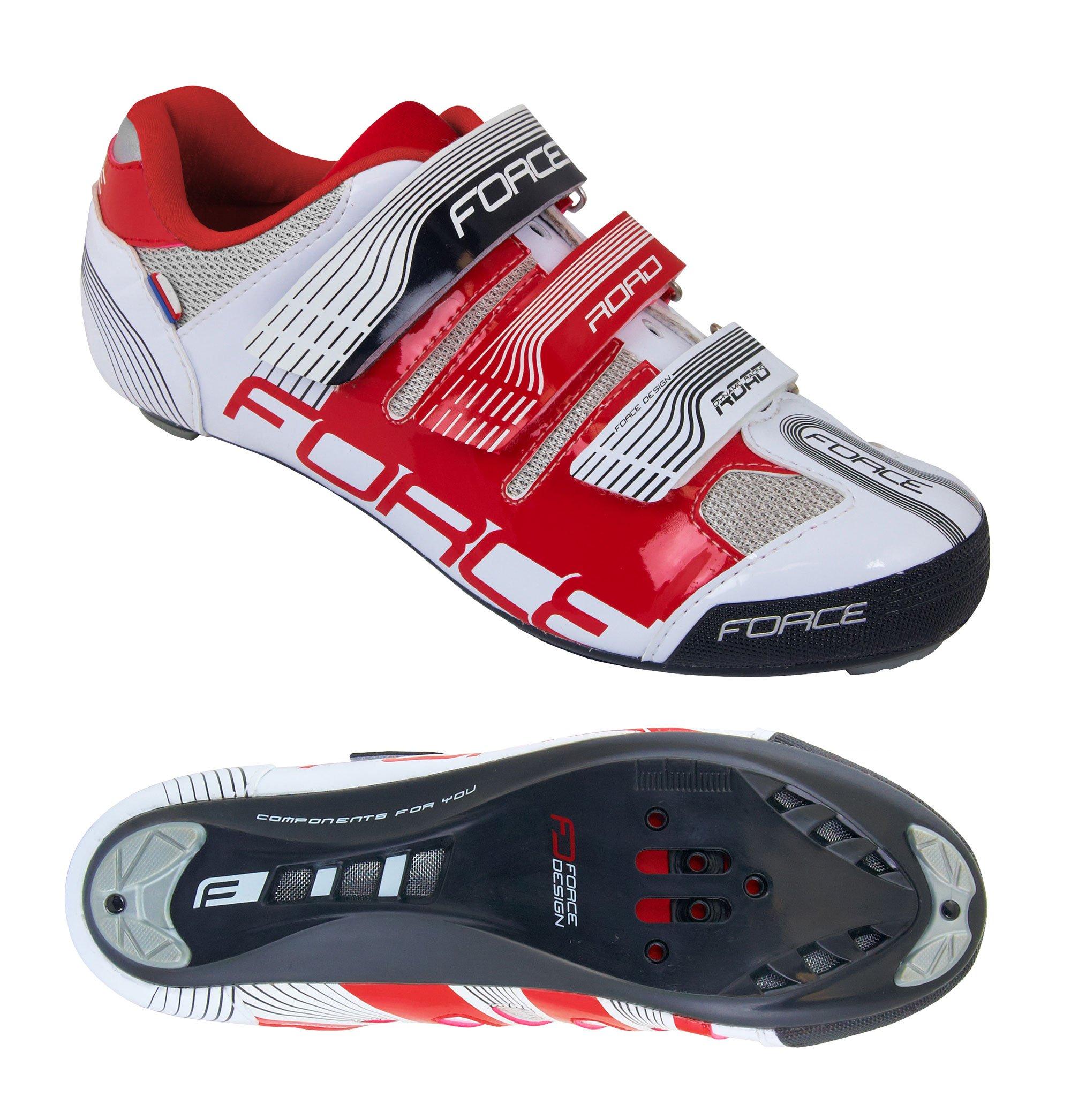 Force Road Spikes cykelsko hvid/rød | Sko