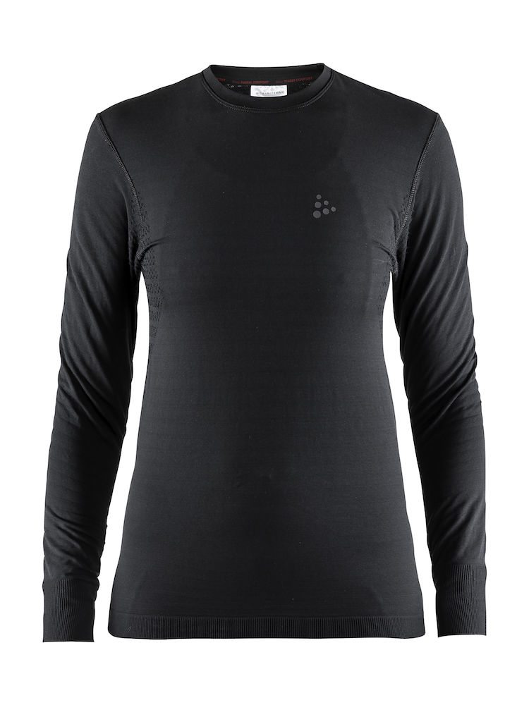 Craft Warm Comfort svedtrøje med lange ærmer til kvinder, sort | Base layers