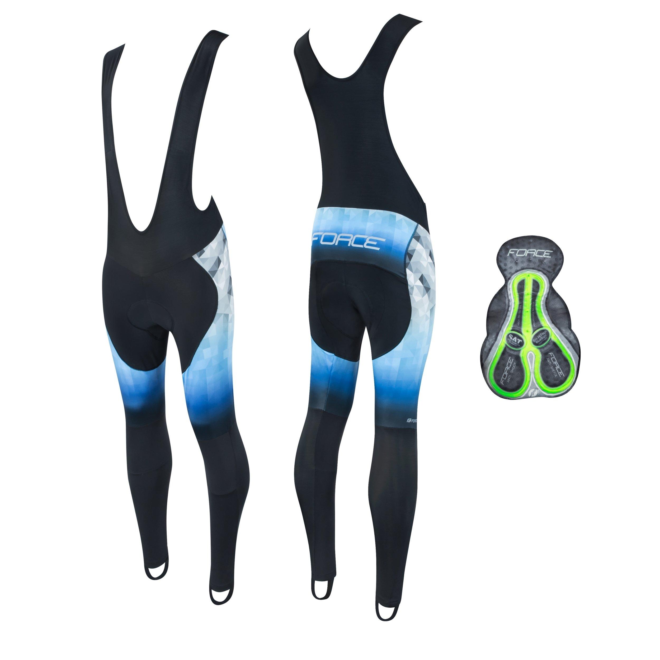 Force Dawn Wind Lange cykelbukser med seler sort/blå | Bukser