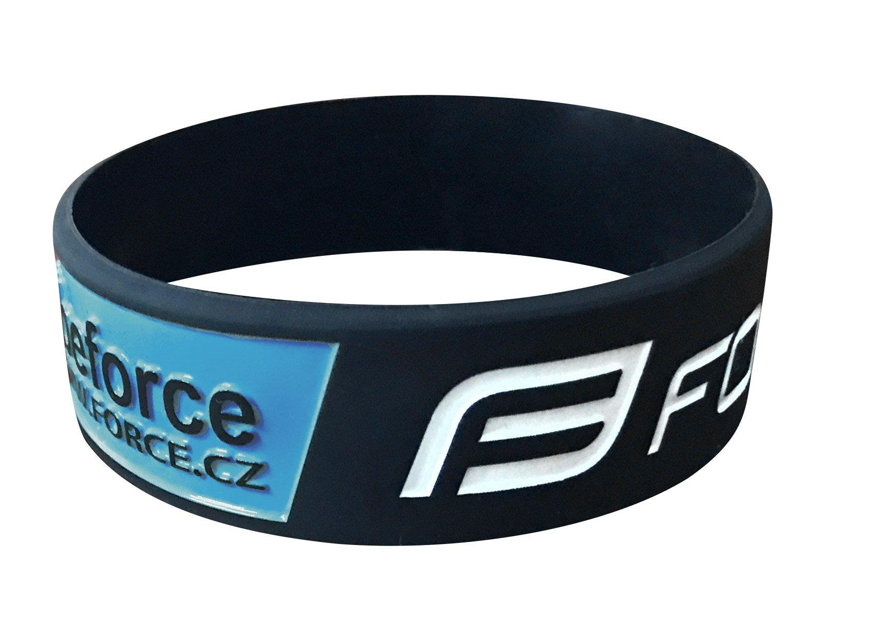 Force silikone armbånd, sort/blå/hvid | item_misc