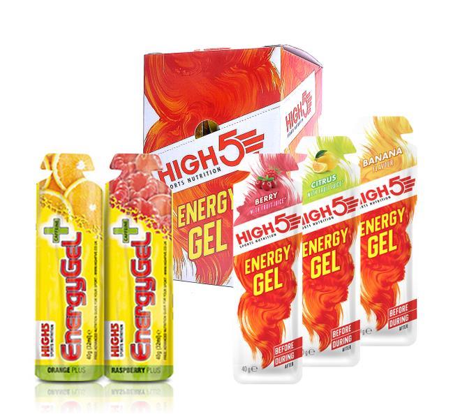 High5 EnergyGel Mix Plus 20 stk. med 5 varianter