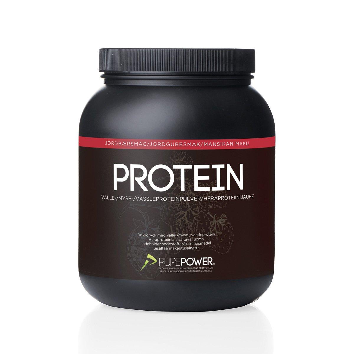 PurePower Proteinpulver Jordbær 1 kg   Proteinbar og -pulver
