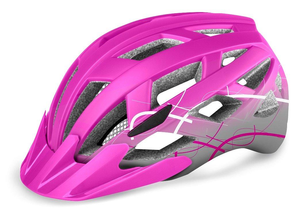 R2 Lumen Junior Cykelhjelm med LED lygte pink 52-55 cm