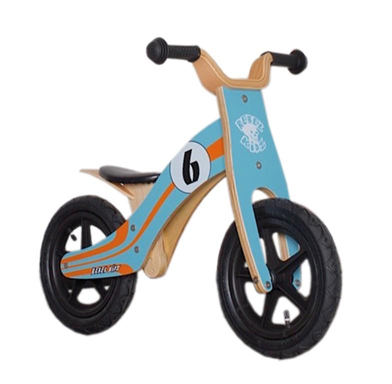 Rebel Kidz 12 løbecykel i træ blå/orange | Learner Bikes