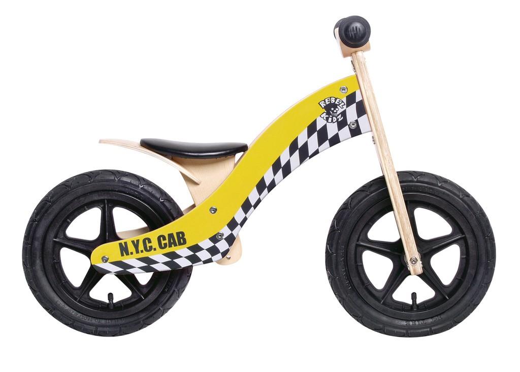 Rebel Kidz 12 løbecykel i træ gul/ternet | Learner Bikes