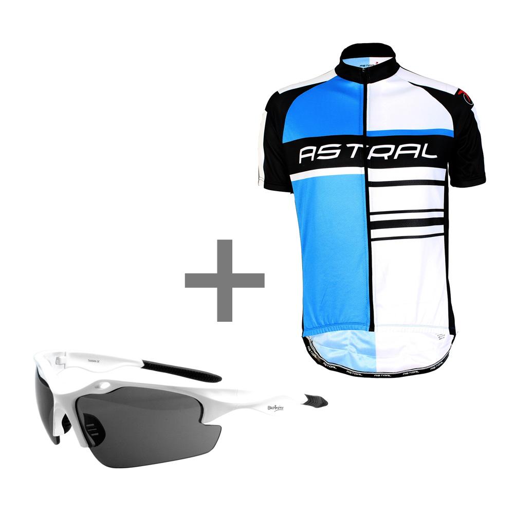 Astral kortærmet cykeltrøje logo blå/hvid/Sort + BikeBrother briller Hvid