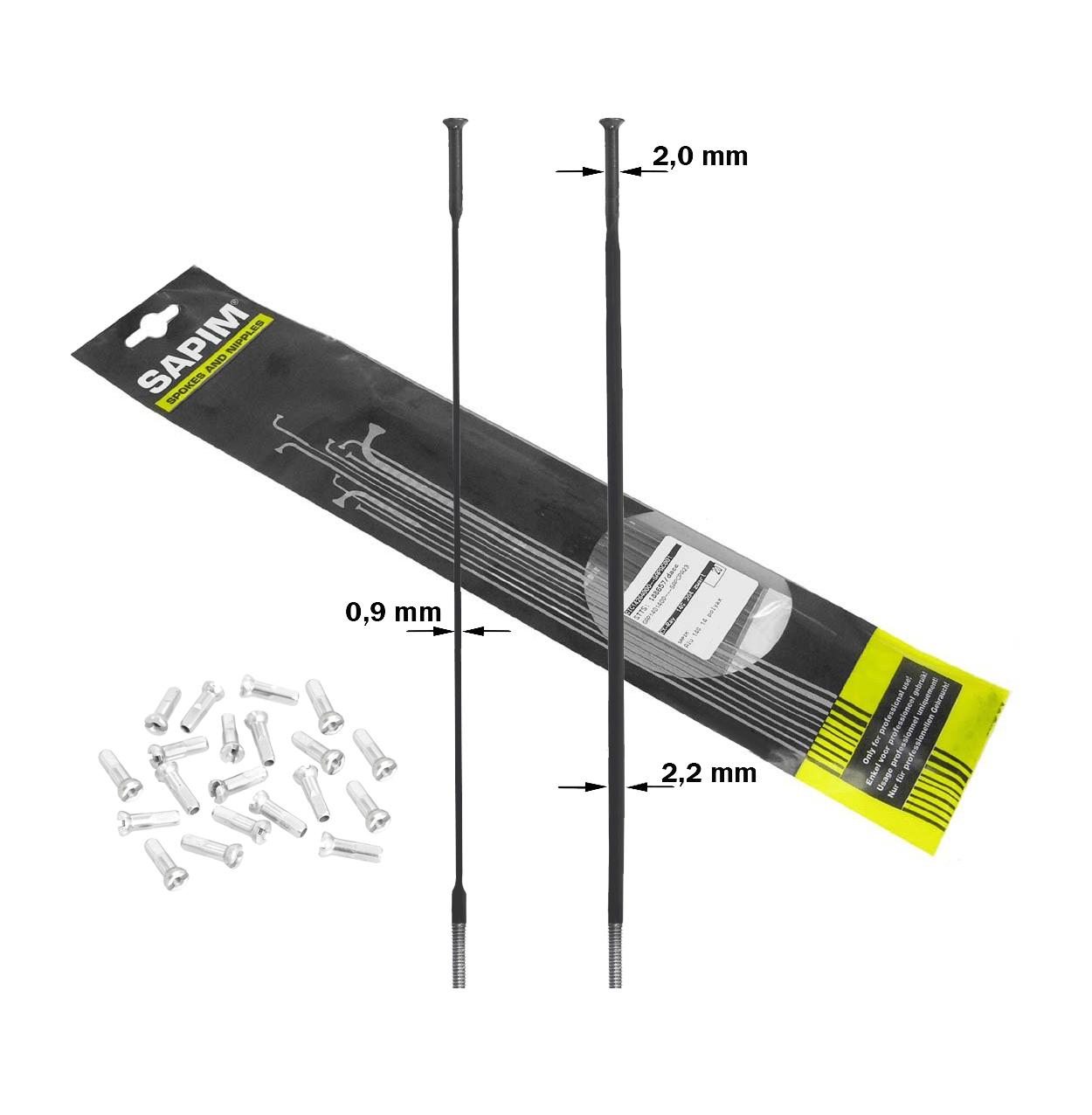 Sapim CX-Ray Straightpull 298mm sorte eger med nipler 20stk | Eger