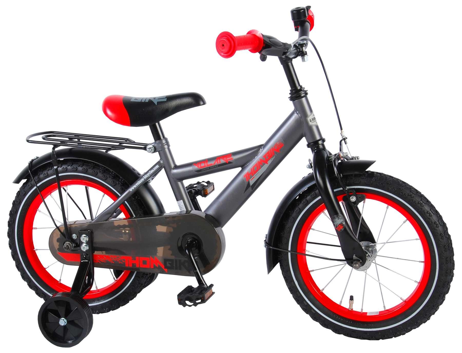 Volare Thombike grå 14 drengecykel med støttehjul | City