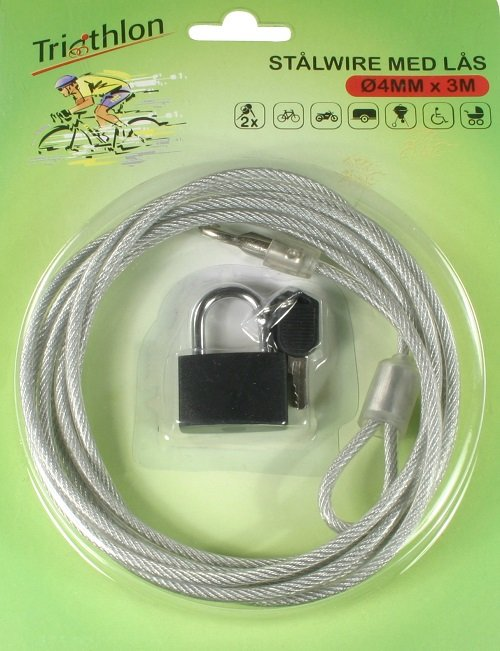 Wirelås Med Hængelås 300 cm.