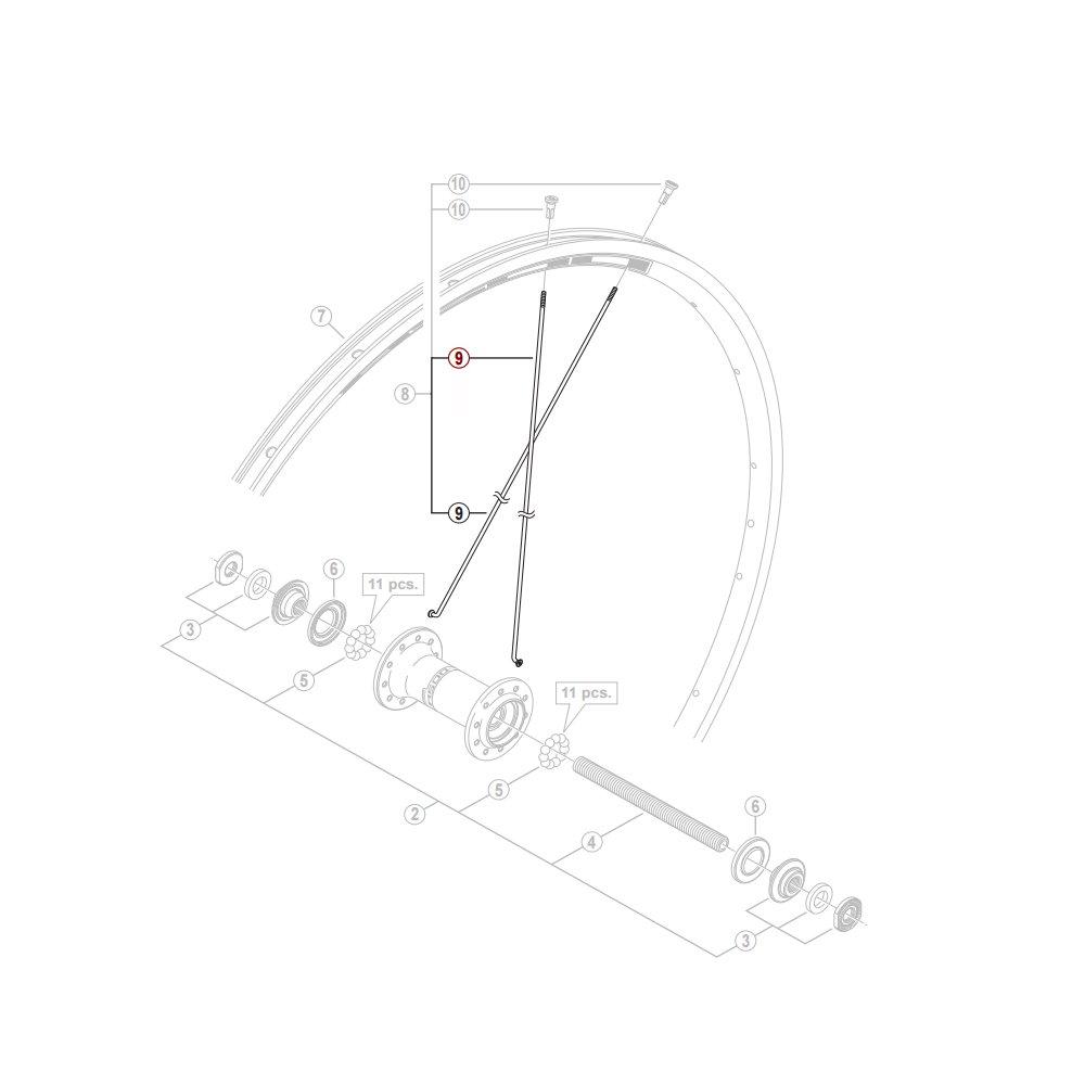 Shimano R501 eger 278 mm forhjul flad/aero | Eger