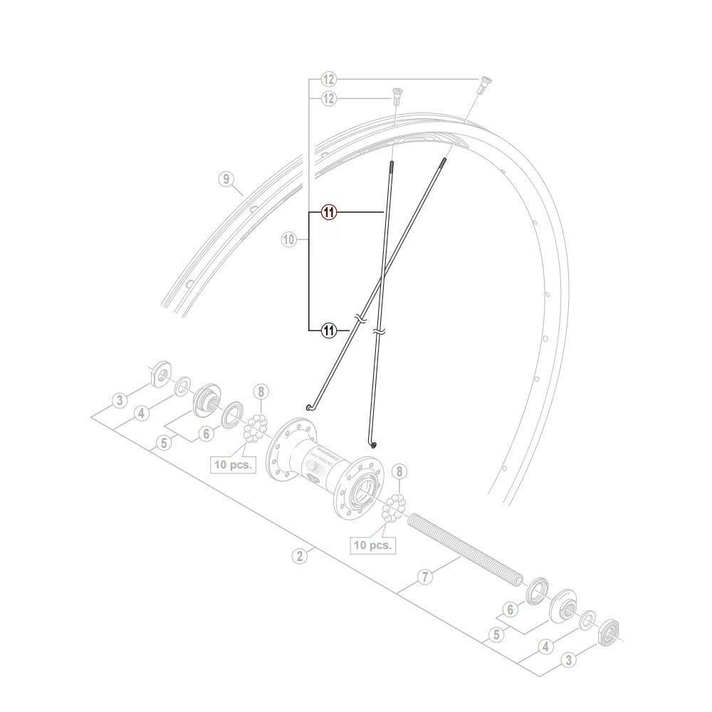 Shimano R501 eger 278 mm forhjul rund | Eger