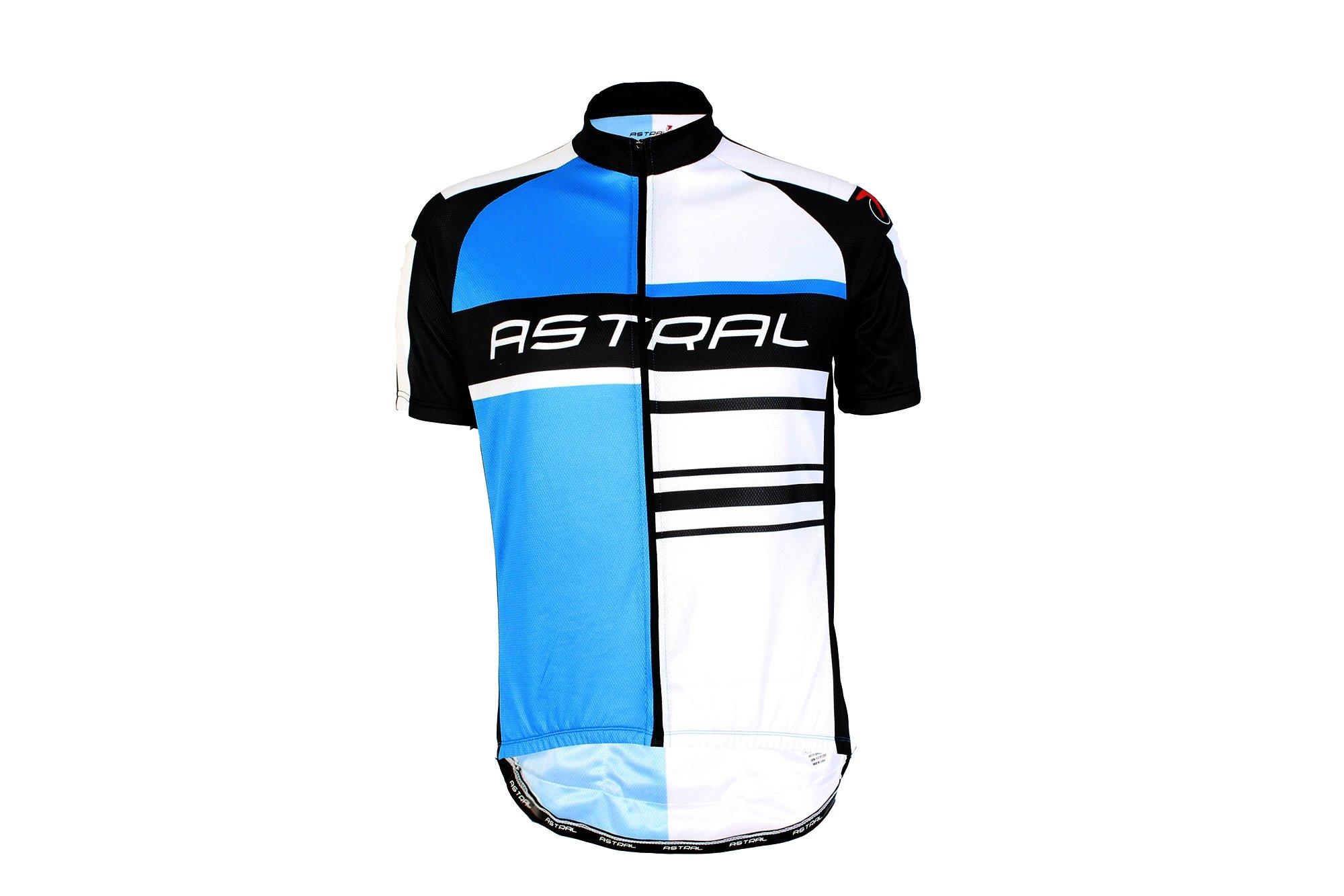 Astral kortærmet cykeltrøje logo blå/hvid/Sort