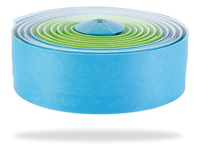Supacaz blå/grøn styrbånd med styrpropper | Bar tape