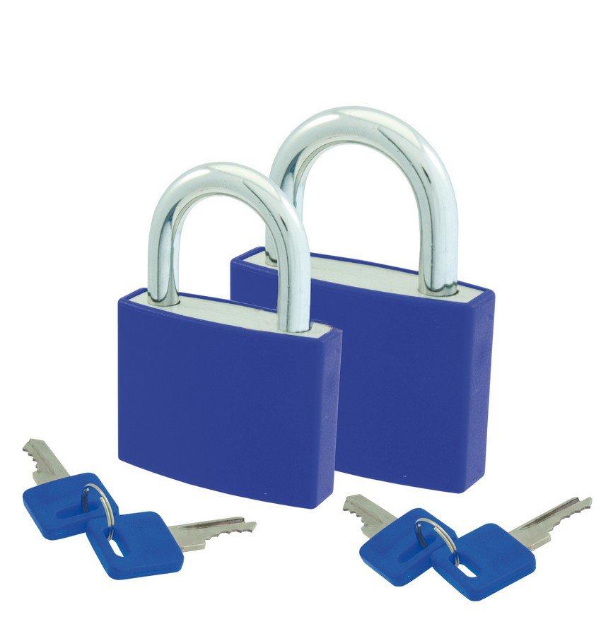 Hængelåse sæt med 2 låse og 4 nøgler Blå