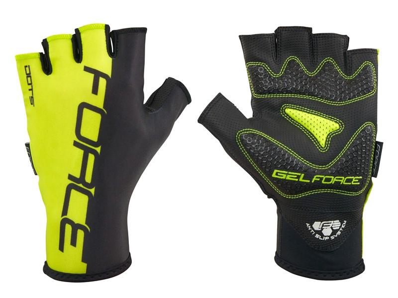 Force Dots lang handske med korte fingre sort/fluo | Gloves