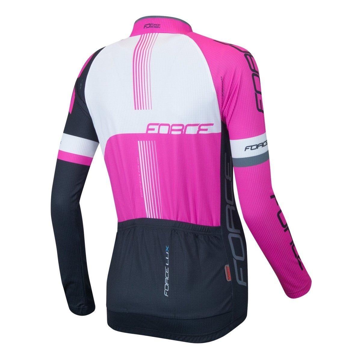 Force Lux langærmet jersey kvinde Pink/Hvid/Sort - 299,00 : Cykelgear.dk - Cykelgear.dk