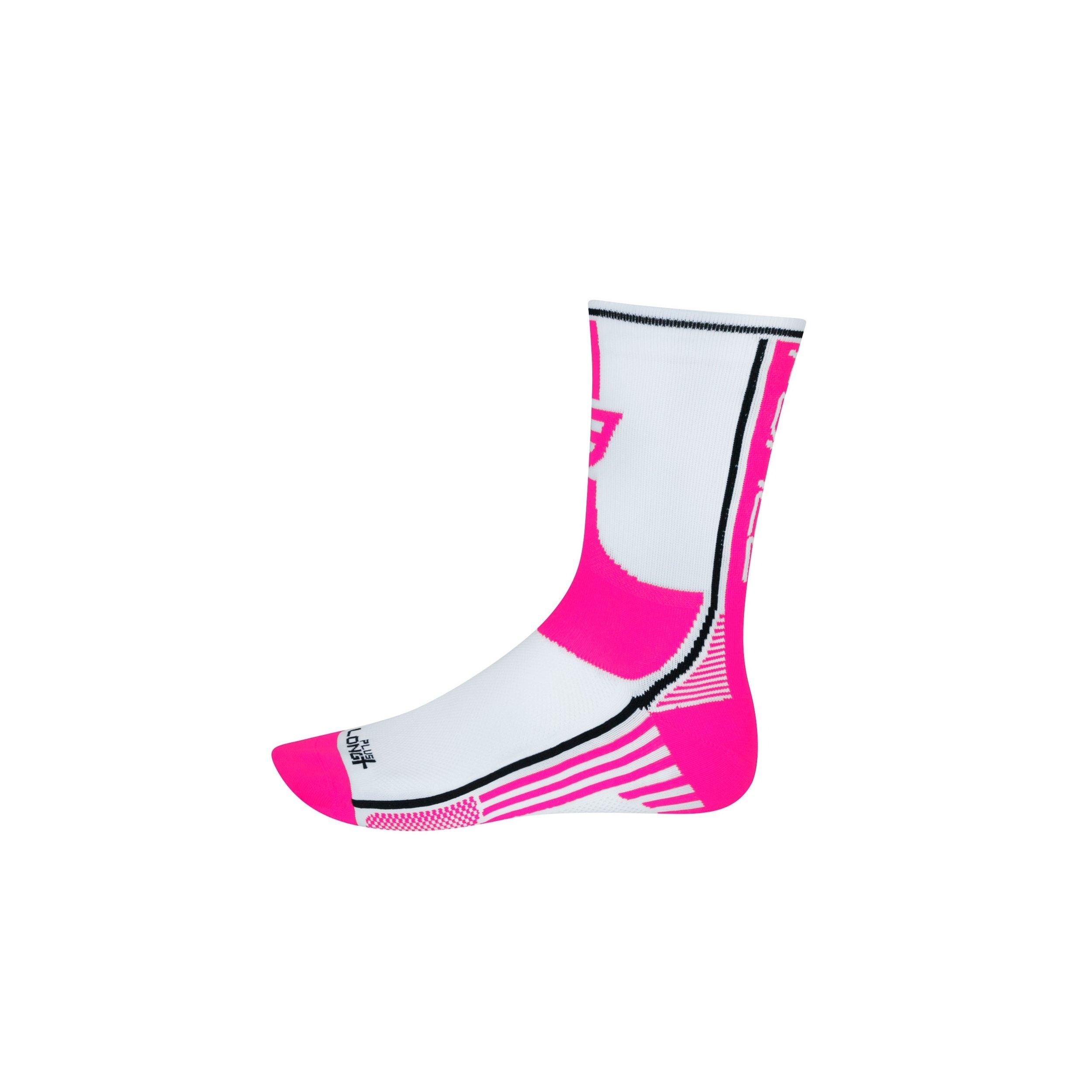 Force Long cykelsokker hvid/pink   Socks