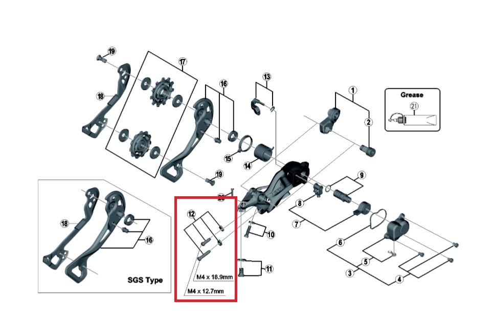 Shimano M9000 justeringsskruer til bagskifter | Bagskiftere