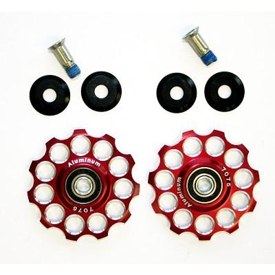 MicroSHIFT røde pulleyhjul med lukkede lejer | Pulley wheels