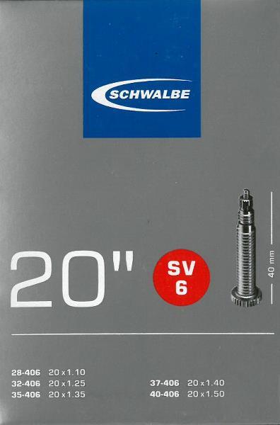 Schwalbe slange 20x1.10-1.50 (28/40-406) SV6 | Slanger