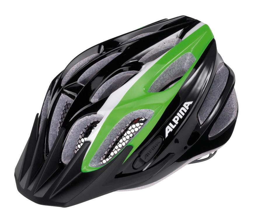 Alpina FB Junior hjelm 51-55 cm Sort/grøn/hvid   Hjelme