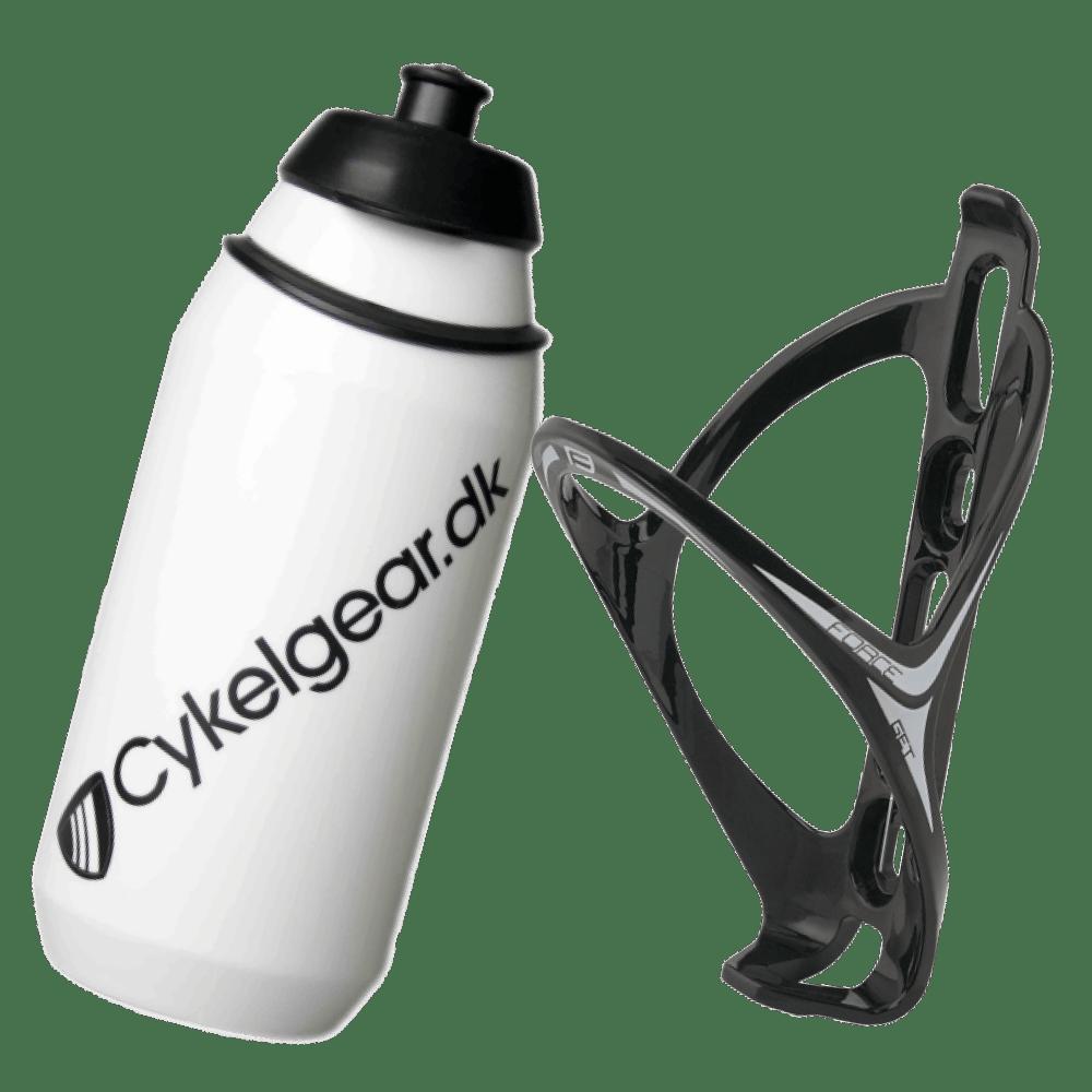 Tacx Cykelgear.dk flaske 500 ml + Force Get Flaskeholder